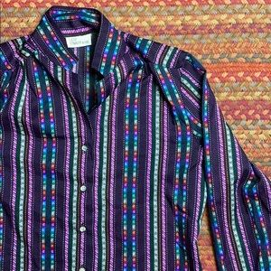 VINTAGE LEVI STRAUSS VERTICAL STRIPE BUTTON UP